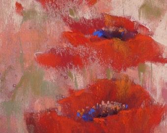 Original Pastel Painting Poppy PINK 7x5 by Karen Margulis psa