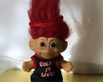 "Vintage Russ Troll Rock and Roll Troll Doll 3"" circa 1990"