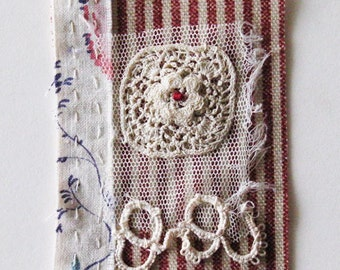 Mini art quilt, hand stitched, antique lace, textile art patch