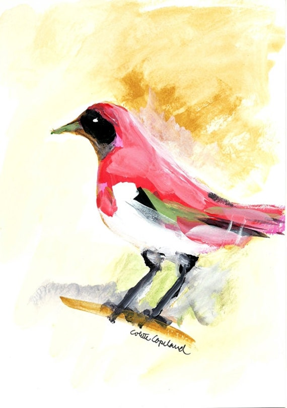 Bird, acrylic on paper, original painting, wall art, nature study