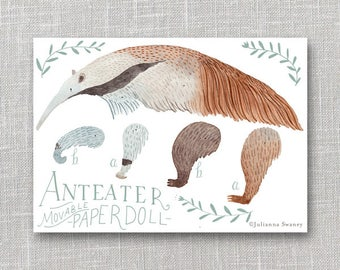 Anteater Articulated Paper Doll,  Illustrated Print, Puppet, Craft, Decoration, Scrapbooking