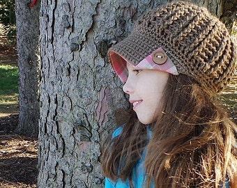 Newsboy hat pink & brown plaid brim wood buttons reversible hat cute winter hat gift for teen wholesale crochet hat crochet newsboy brim hat