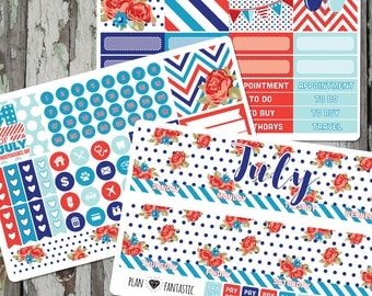 July Monthly Planner Sticker Kit - Monthly Calendar Stickers for use with ERIN CONDREN LIFEPLANNER™