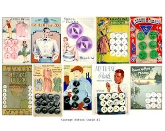 Vintage Button Cards No. 1 - Digital Collage Sheet - Instant Download