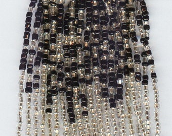 Beautiful Black & Silver Lined Mix Glass Seed Beads  10/0 1 hank