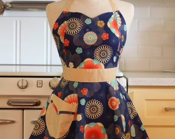 Retro Full Apron Sweetheart Neckline Japanese Floral on Navy - BELLA