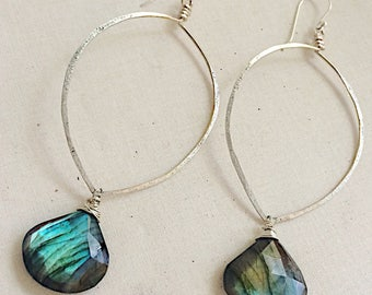 Labradorite Sterling Hoops