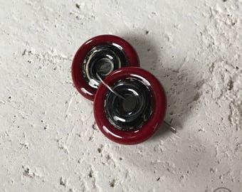 Black & Cream Center - Cherry Red