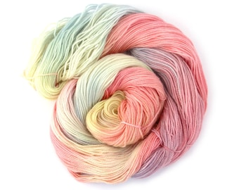 Pre-order Handdyed fingering 4ply yarn, choose your wool base, Unicorn Clouds rainbow multicolour variegated pastel merino Perran Yarns