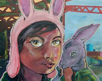 Louise and the Kuchi Kopi - Bob's Burgers Painting - Rabbit & Girl large original London train station piece