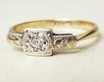 Art Deco Diamond Starburst Ring, 9k Gold Diamond Engagement Ring Approx. Size US 6.5
