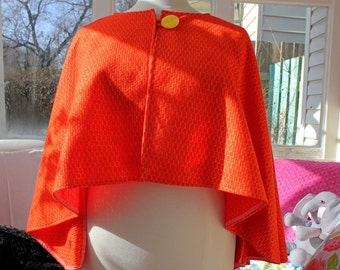 Oversized Cape, Upcycled Cape, Eco Clothing, Upcycled Capelet, OOAK, Vintage Button, Orange Cape, Dramatic Cape, Fall Cape