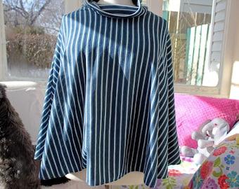 Oversized Poncho, Blue Striped Poncho, Upcycled Poncho, All Sizes, Large Cowl, Eco Clothing, Lightweight Poncho, OOAK, Poncho, Handmade