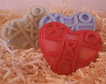 Hugs Kisses Tic Tac Toe Heart Silicone Soap Mold Wedding Shower Favor Mold Ornament Valentines Day Love Mothers Day DIY Craft Molds