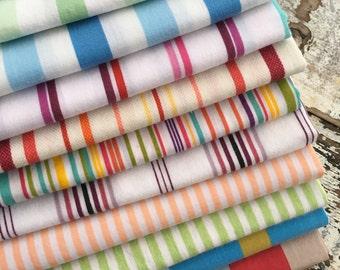 Fat Quarter Bundle- The Happy Stripe Stash  -Reclaimed Bed  Linens