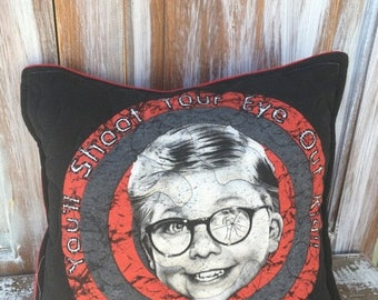 40% OFF- Christmas Story Throw Pillow-Humor- Iconic--Upcycled Eco Friendly-Quilted