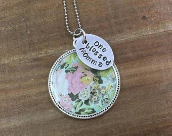 40% OFF- Blessed Momma Necklace-Mother's Day Gift-Stamped Jewelry-Resin Bezel