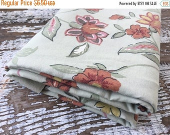 40% OFF- Green Floral Fabric-  Reclaimed Vintage Bed Linens Fabric-