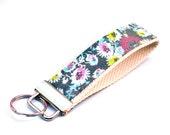 Keychain Wristlet, Grey Wildflowers Designer Fabric
