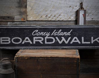Coney Island Boardwalk Sign, Custom Wood Sign for Beach Lover Gift, Beach Boardwalk Decor, Rustic HandMade Vintage Wooden Sign ENS1001826