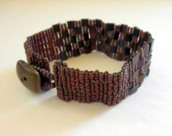 Beaded Bracelet Peyote Stitch Tila Bead Seed Bead Bracelet Brown