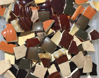 500 Mosaic Tiles Broken China Pieces Hand Cut Art Supply Mix Retro Solids Black Brown White 500