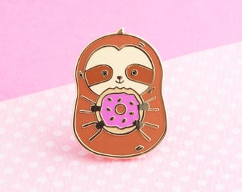 Donut pin, cute enamel pin sloth hat badge