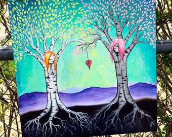 """The Ties That Bind 12""""x12"""" ORIGINAL acrylic painting by Marcia Furman- Best Friends, Girlfriends Surreal Birch Trees"""