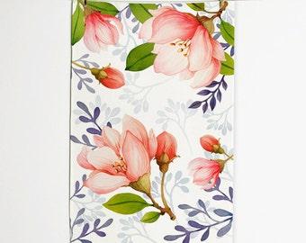Spring Flowers Tea Towel, Tea Towel 16 x 25, Handmade Tea Towel, Unique Tea Towel, Home decor, Wall décor, Art for kitchen
