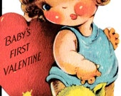 Vintage 1940's Baby's First Valentine Greetings Card (B17)