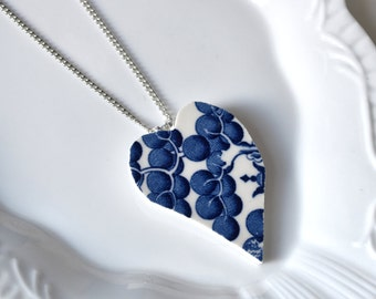Recycled China Heart Pendant - Blue Willow - Portion of Proceeds to American Heart Association