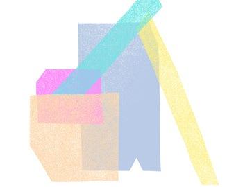 Pastel Pink, Blue, Turquoise, Yellow & Peach Jumble: Modern Geometric Art Print