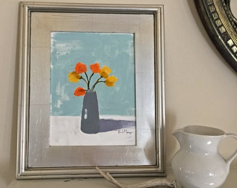 acrylic painting on paper flower painting flowers in vase orange and yellow wall art home decor original