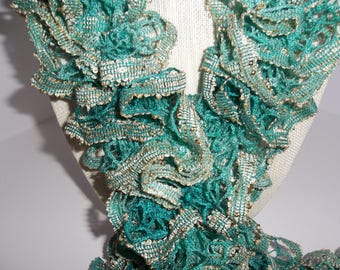 Knit Scarf - Green Ruffle Scarf- Boho Ruffle Scarf - Green with Gold Ruffles - Handmade Scarf -  Fashion Scarf - Gold Sequins - Gift Idea