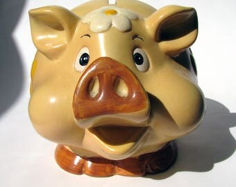 Vintage - Ceramic  Bank - Pig Piggy Bank - Flowers - Hand Painted - 1970's - Curly Tail Tan - Brown - Big Face - Snout - Smiling Pig