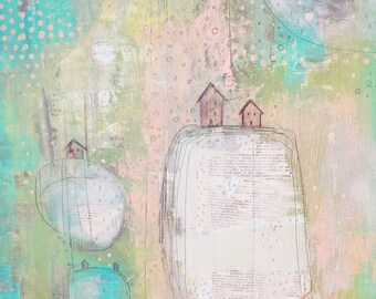 Abstract Landscape- Pink Green Painting, Little Houses Original Painting for the Modern Farmhouse Style