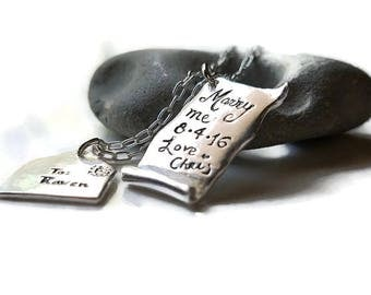 Marry Me Proposal Engagement Love Letter and Envelope Sterling Silver Necklace, Love Letter, Love message, romanza jewelry