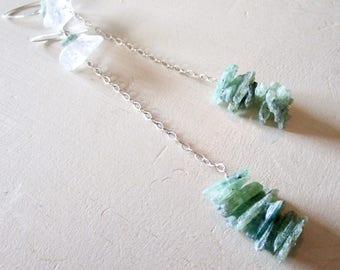 Rough Cut Kyanite & Crystal Quartz Super Long Gemstone Earrings - Sterling Silver - Etsy Jewelry - catROCKS - Shoulder Sweeper - Clear Green