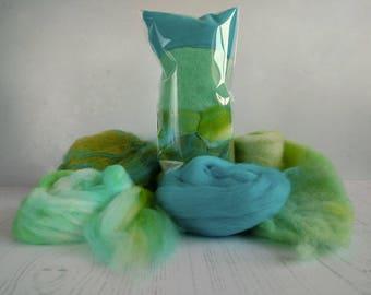 Creative Fibre Pack - Fiber for Spinning - Felting  - Blended Merino - Faux Cashmere - BFL Batt - Hand Dyed Fibers  - Green - Blue - 45g