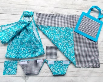 Baby Doll Care Set - Doll Ring Sling - Baby Doll Cloth Diaper - Doll Blanket - Doll Diaper Bag - Doll Baby Wipes - Doll Sling - Aqua & Black