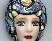 Polymer Clay One of a Kind   Detailed  Art Doll Face with hat Cab  FH 9