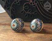 Moroccan post earrings, geometric pattern jewelry, Tribal Jewelry, North African Tile pattern