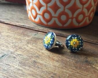 Italian tile earrings, Italian post earrings, Mediterranean jewelry, bohemian earrings