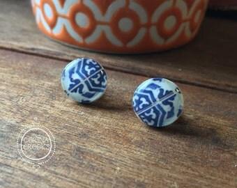 Pottery design, Portuguese post earrings, blue and white, Lisbon, azulejos, tribal jewelry, stud earrings, vintage decorative tile design