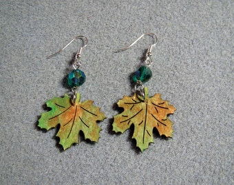 Autumn Leaves Maple Oak Handmade Wooden Dangle Earrings Hypoallergenic 12E