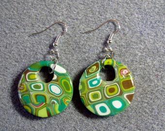 Polymer Clay Resin Klimt Retro 60s Green Mod Circle Earrings K10