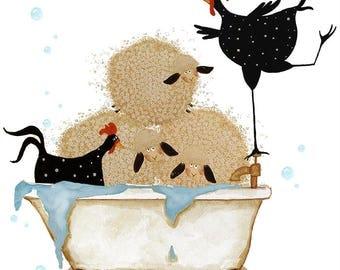 Debi Hubbs Folk Art Print Laundry Bathtub Bathroom Decor Sheep Chickens Farm