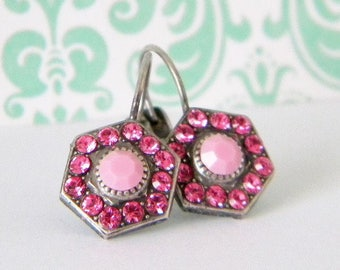 Antique Silver Rose Pink Victorian Style Leverback Earrings