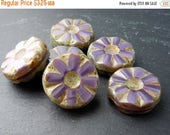 25% OFF 6 Premium Czech Glass Beads 13mm Large Coin Beads Amethyst Picasso (G - 309)