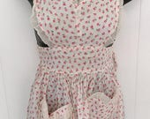 Mothers Day SALE vintage pink rose heart apron childs or xs